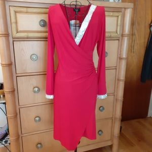 NWT MSK STUNNING Red Surplice Cocktail Dress